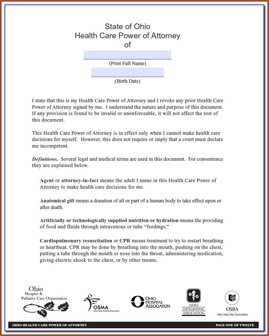 Free Living Will And Medical Power Of Attorney Forms