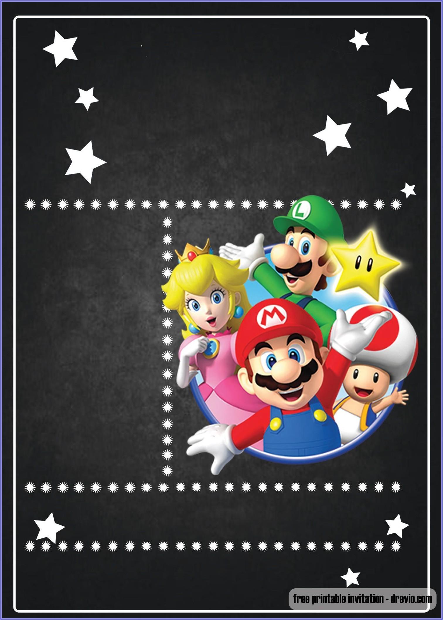 Free Mario Brothers Invitation Templates