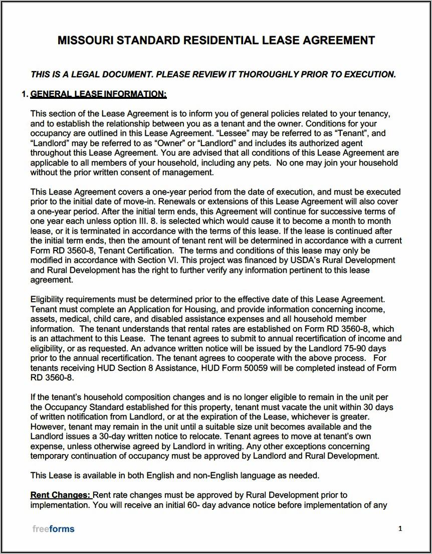 Free Missouri Lease Agreement Template