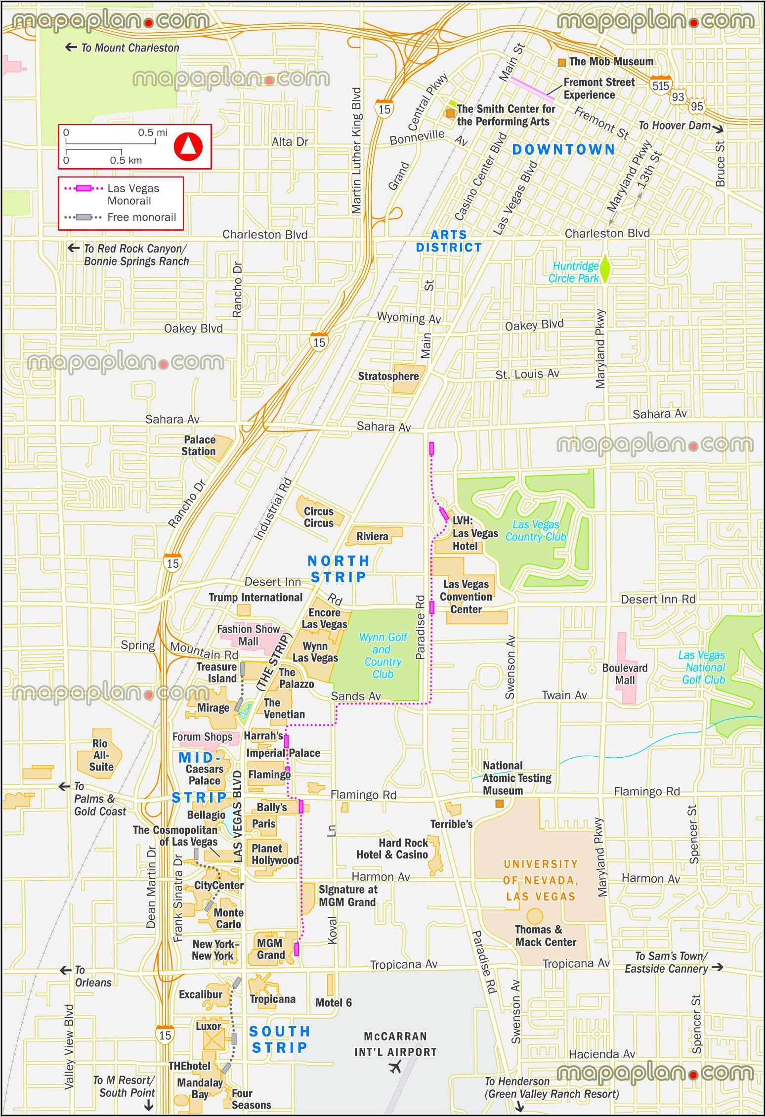 Free Monorail Las Vegas Map
