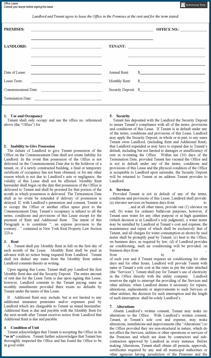Free Office Lease Form