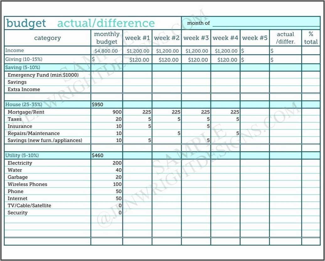Free Personal Budget Spreadsheet Examples