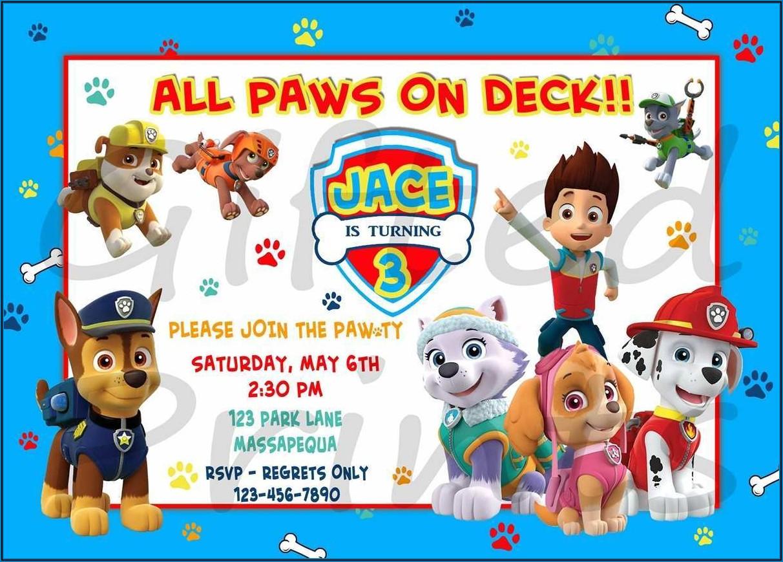 Free Personalized Paw Patrol Birthday Invitations