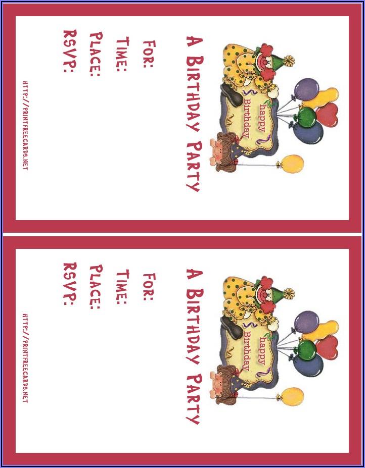 Free Printable Children's Birthday Invitations