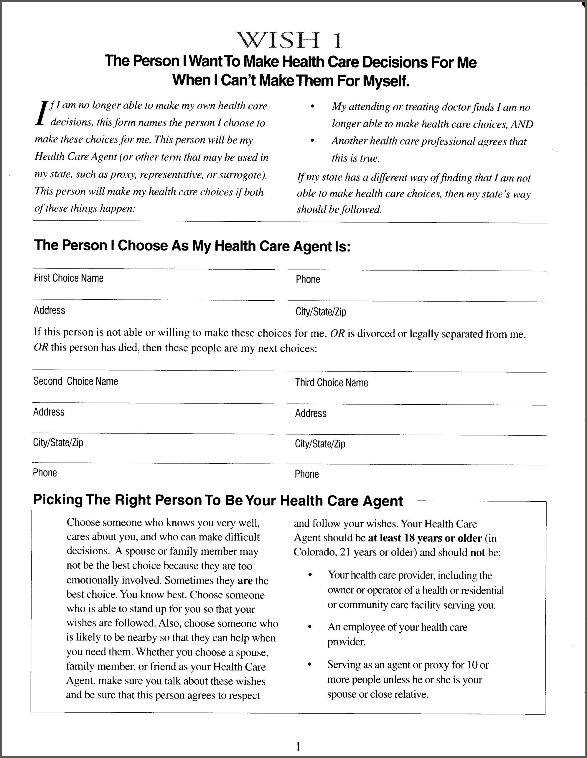 Free Printable Five Wishes Form