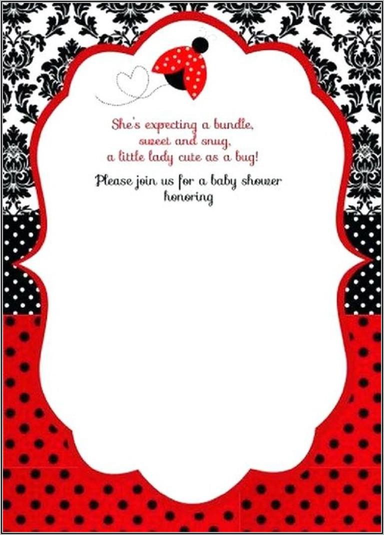 Free Printable Ladybug Baby Shower Invitations Templates
