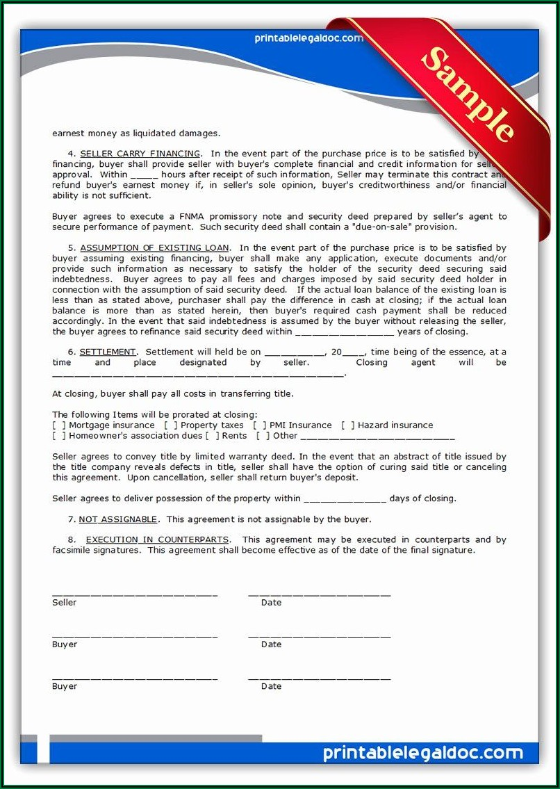 Free Printable Land Contract Agreement