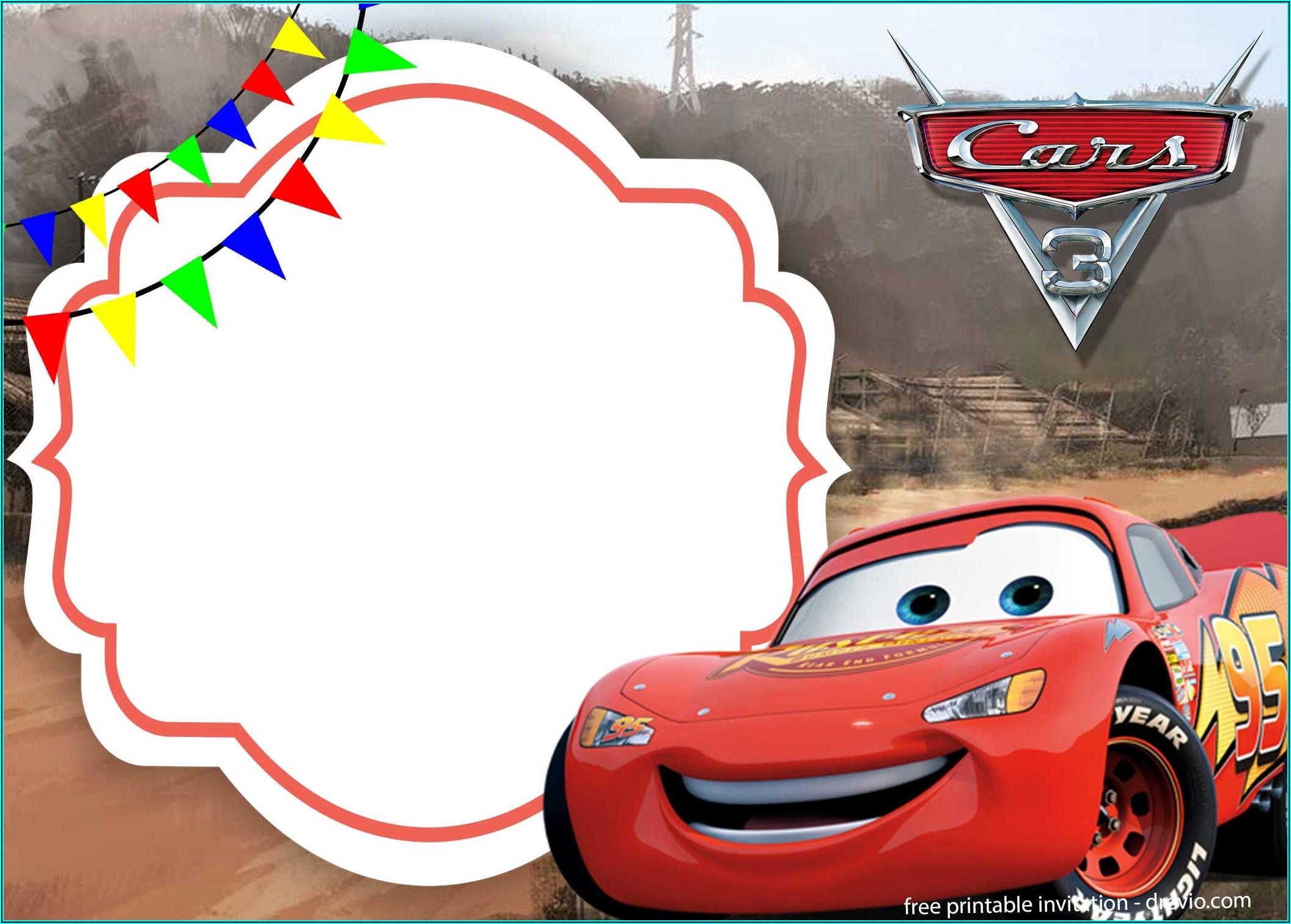 Free Printable Lightning Mcqueen Birthday Party Invitations