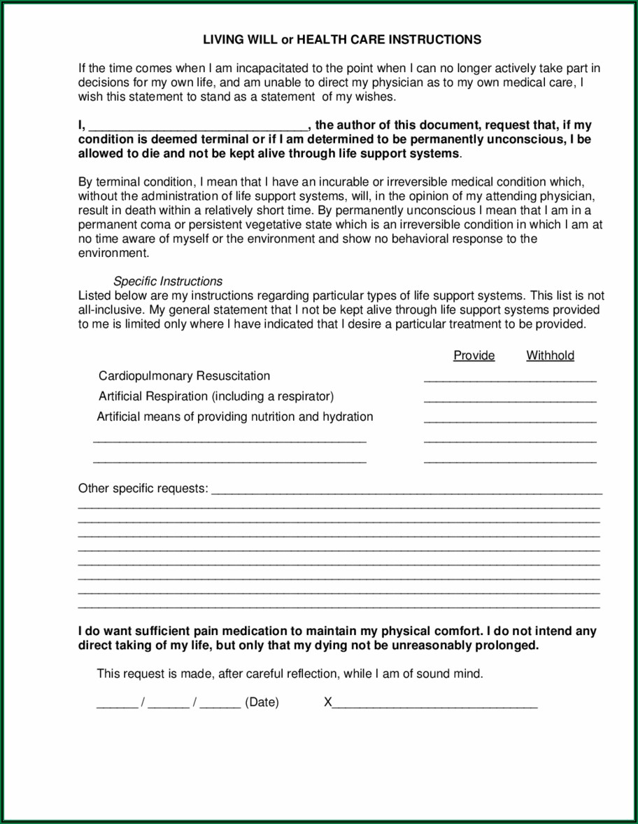 Free Printable Living Will Forms For Pa