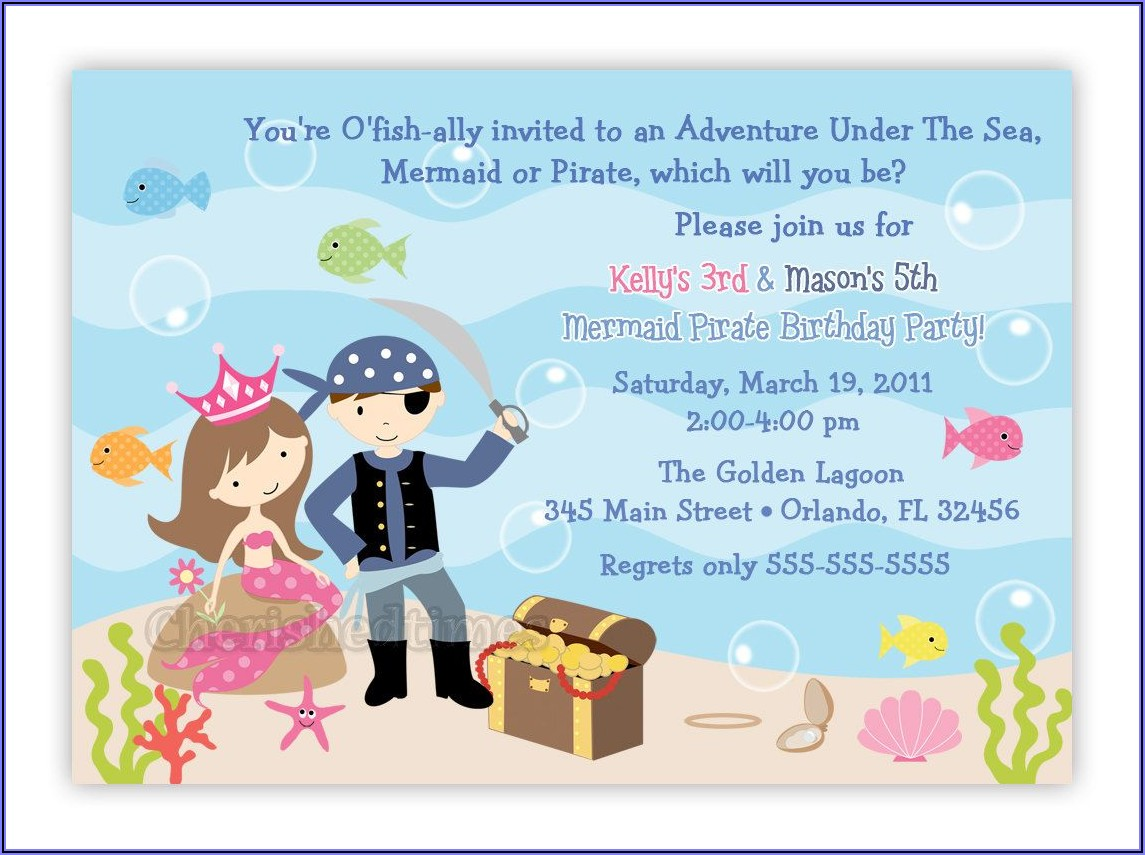 Free Printable Mermaid And Pirate Party Invitations