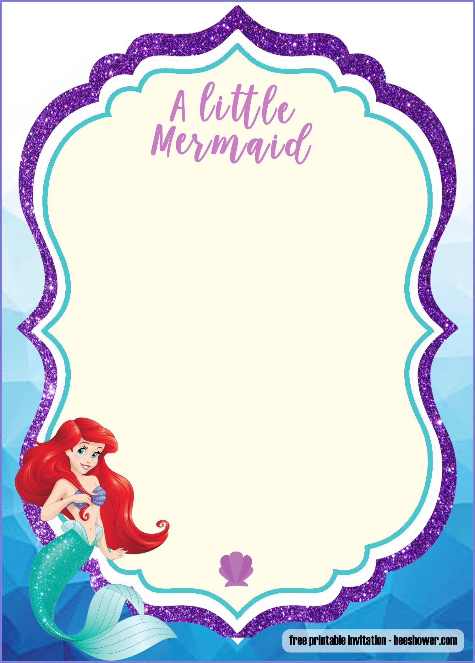 Free Printable Mermaid Baby Shower Invitations