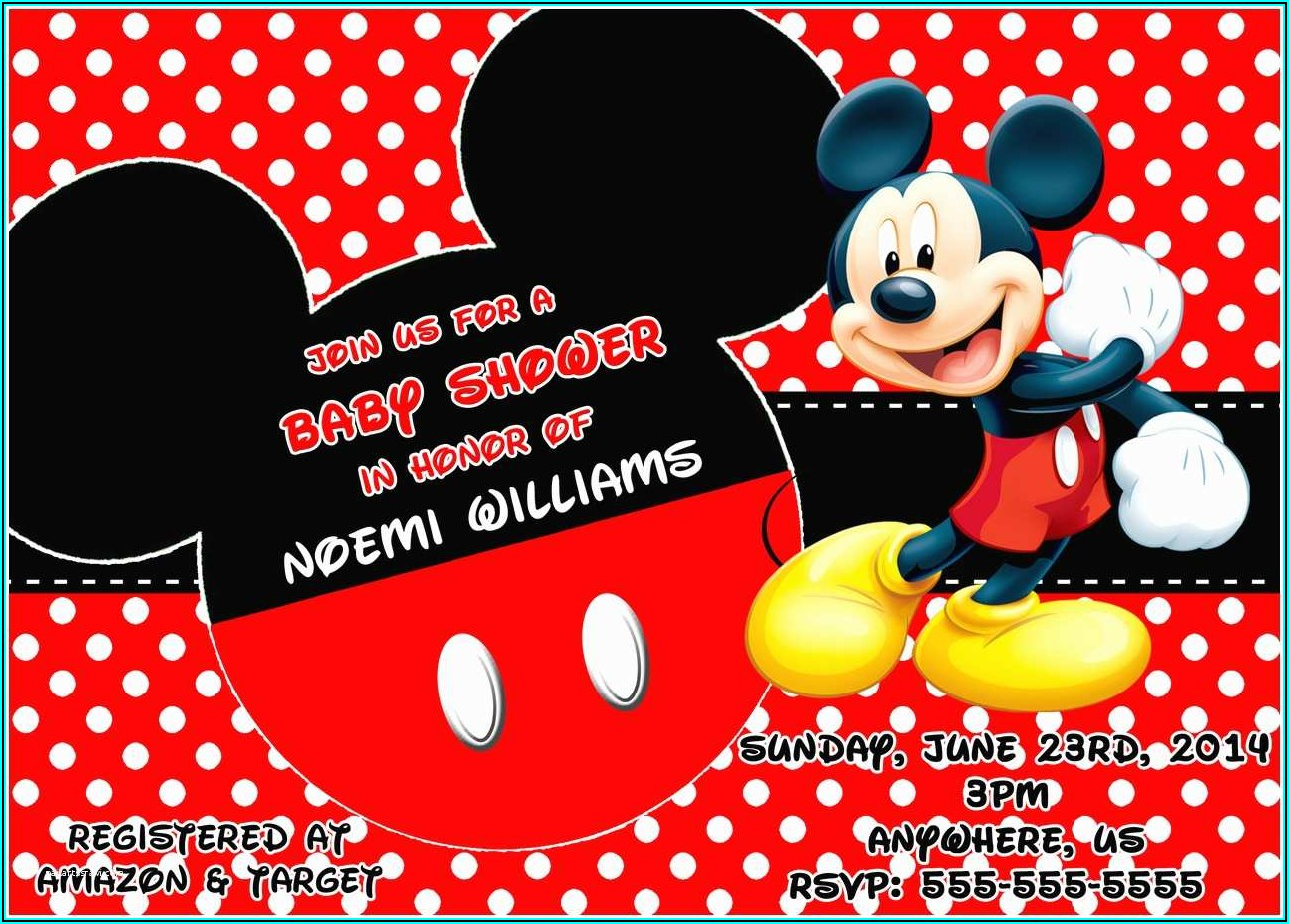 Free Printable Mickey Mouse Baby Shower Invitations