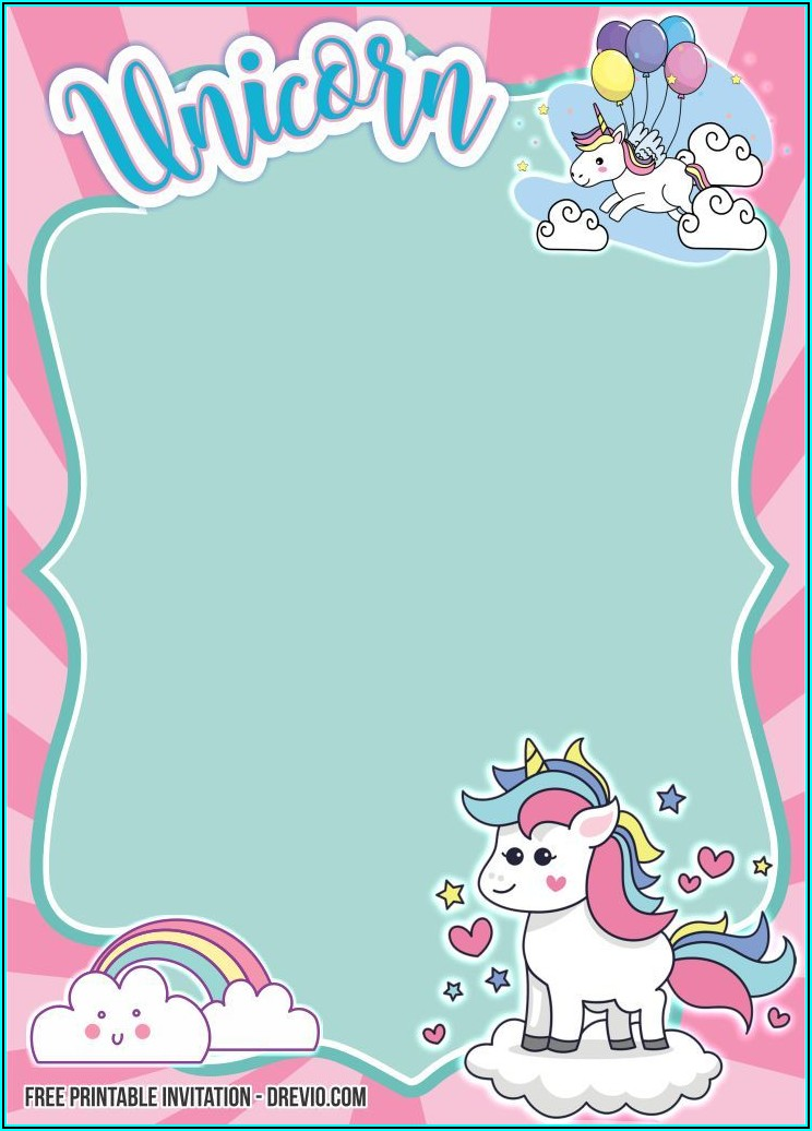 Free Printable Rainbow Unicorn Birthday Invitations