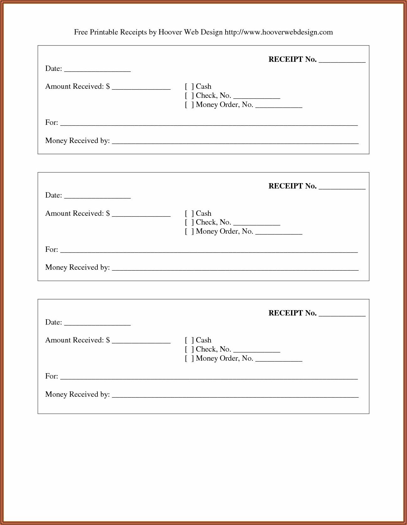 Free Printable Rent Receipt Forms