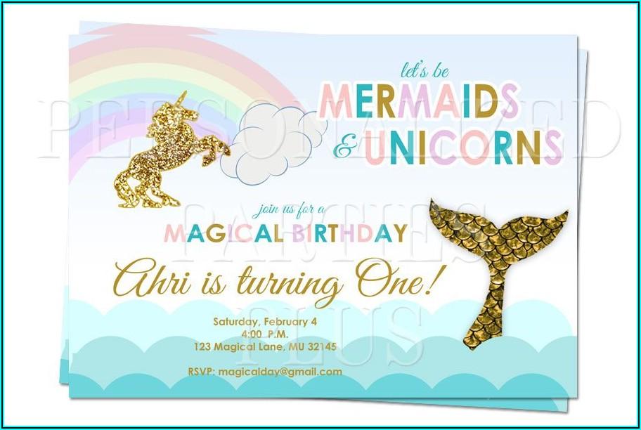 Free Printable Unicorn Mermaid Invitations