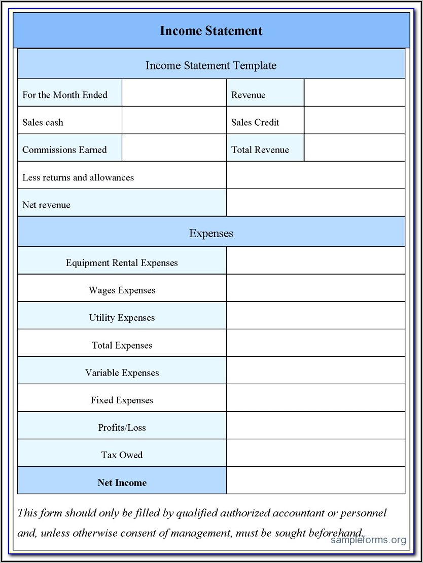 Free Profit And Loss Statement Template For Construction
