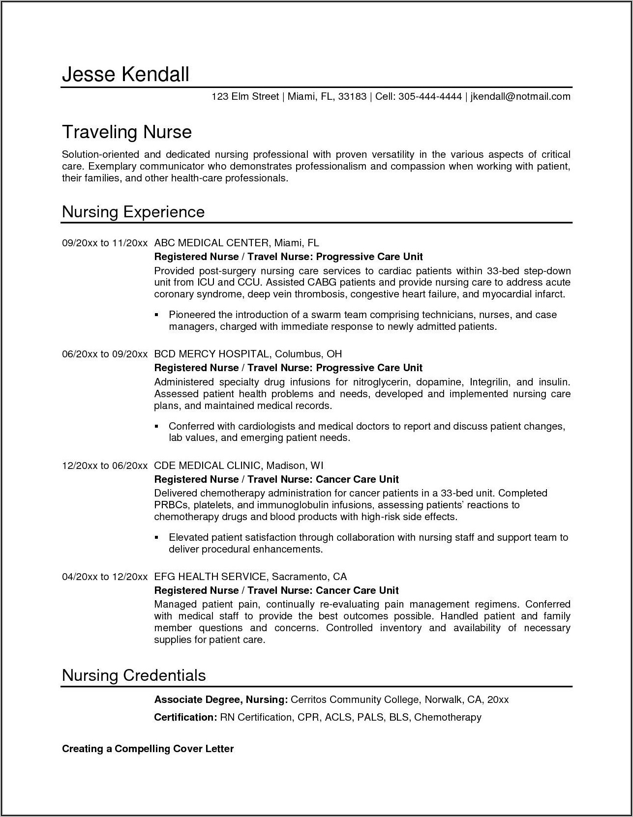 Free Resume Templates For Nurses Download