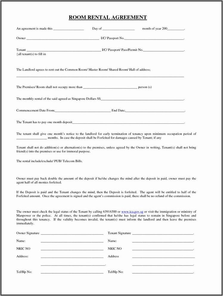 Free Room Rental Agreement Template California