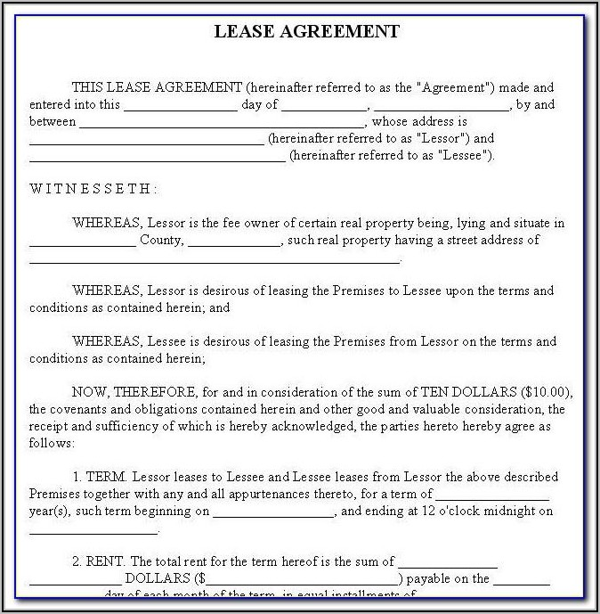 Free Simple Commercial Lease Agreement Template