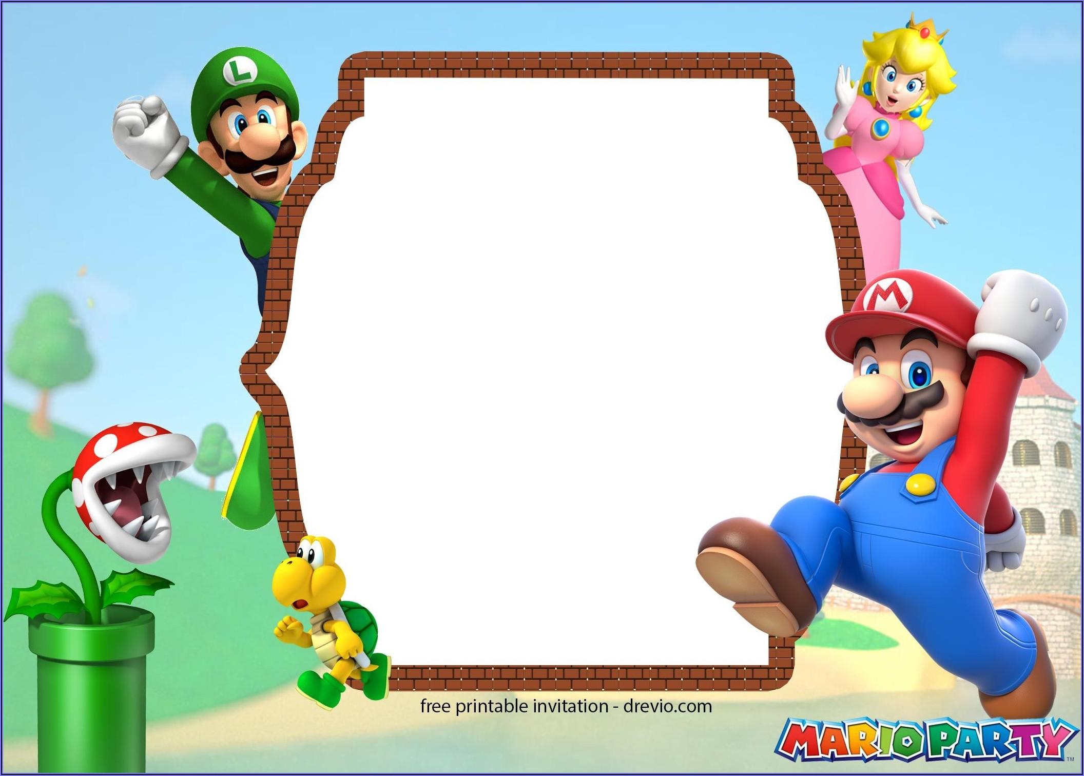 Free Super Mario Bros Invitation Templates
