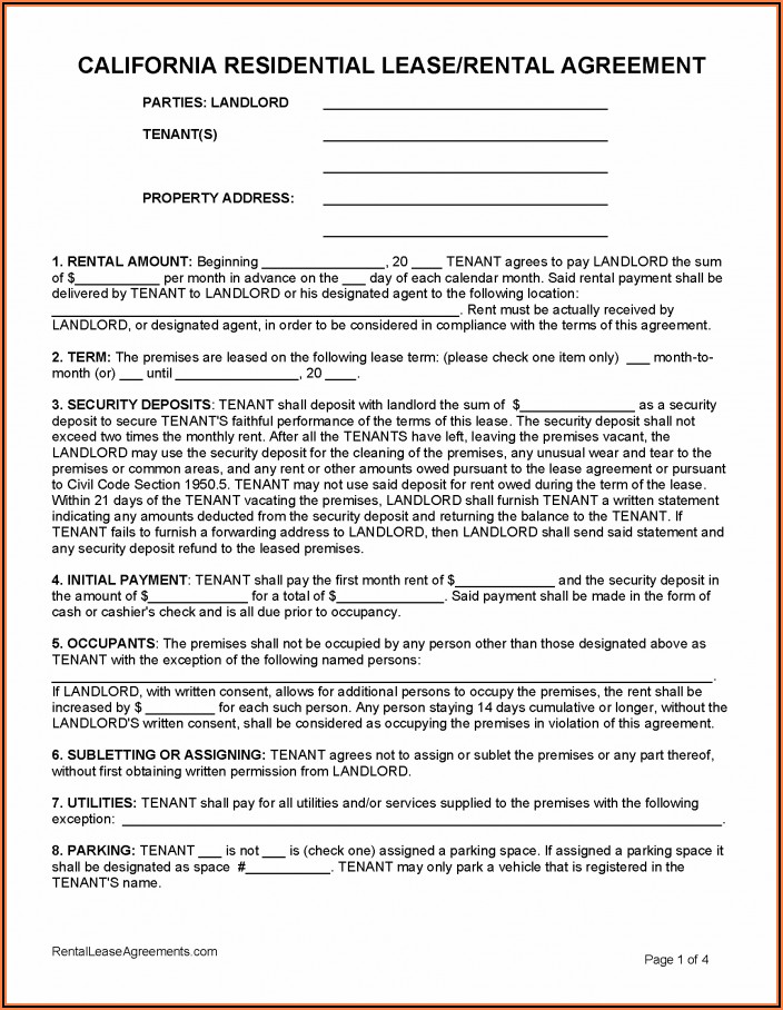 Free Tenant Agreement Template