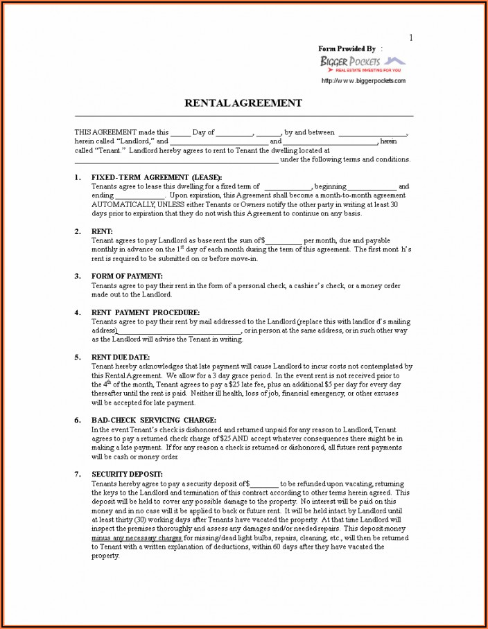 Free Tenant Lease Agreement Form