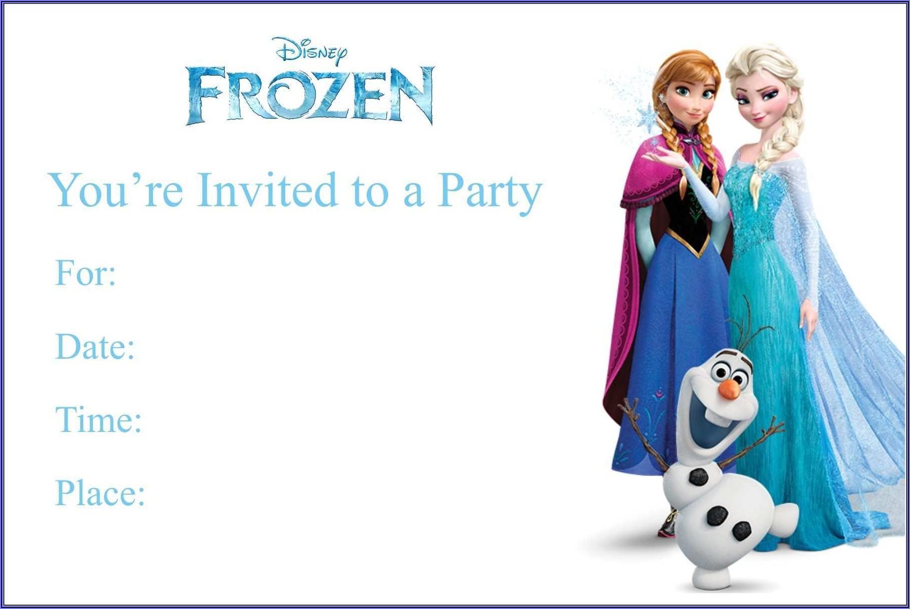 Frozen Birthday Invitation Blank Template