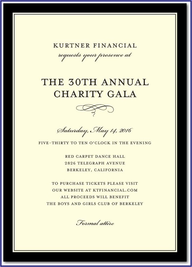 Fundraiser Event Invitation Wording Samples