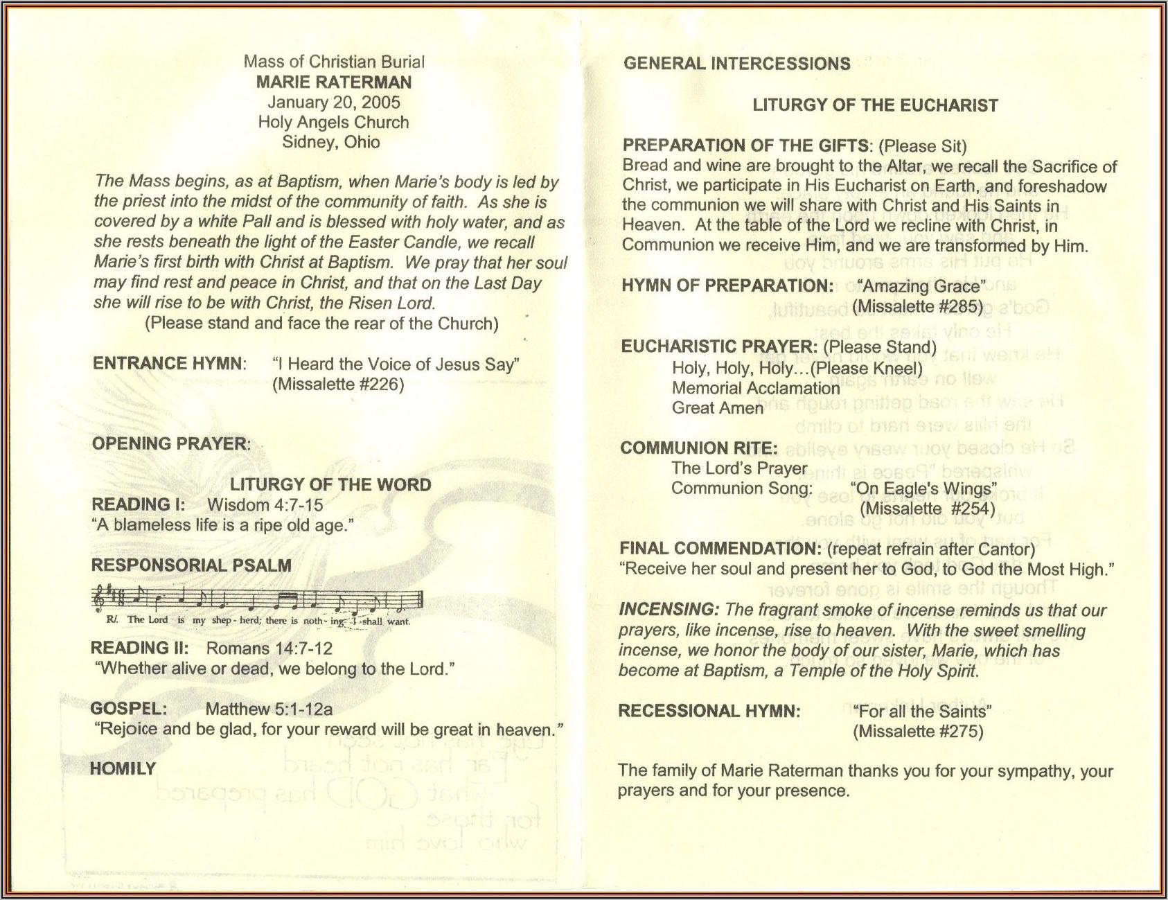 Funeral Mass Free Editable Catholic Funeral Program Template