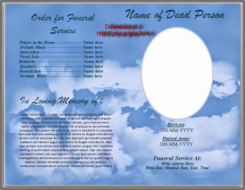 Funeral Memorial Card Template Free