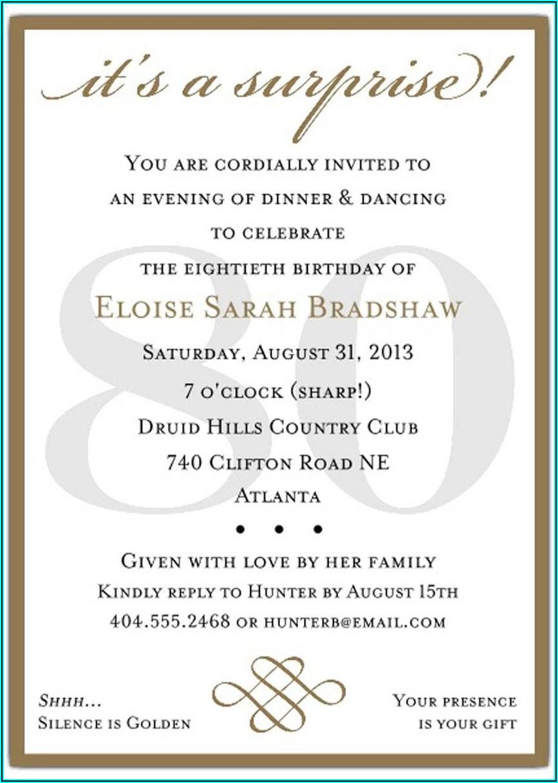 Funny 80th Birthday Invitation Wording