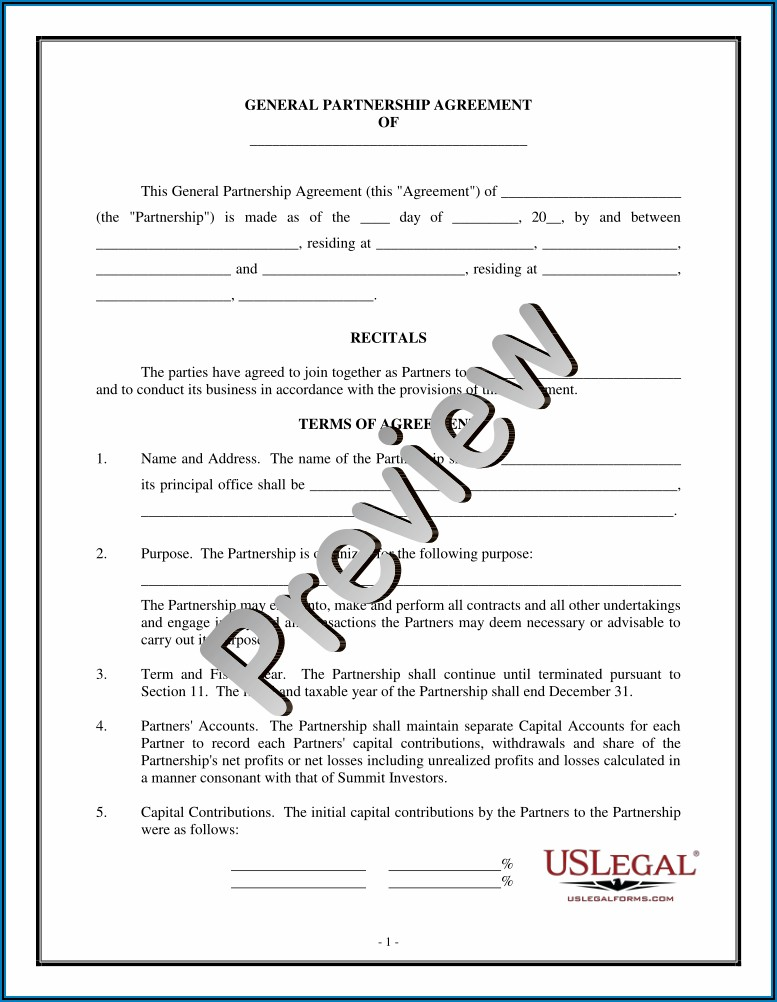 General Partnership Agreement Template Bc