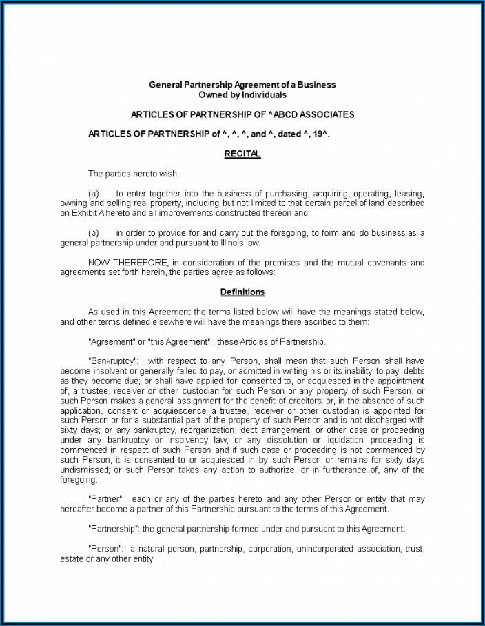 General Partnership Agreement Template Free
