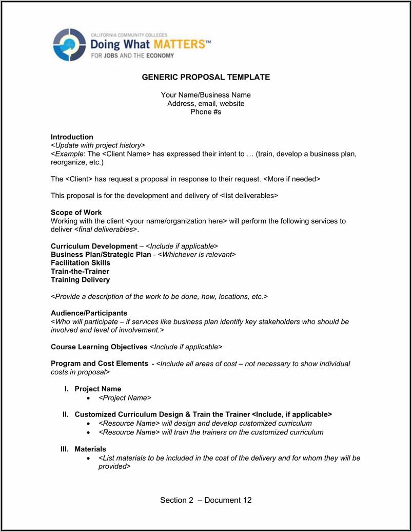 Generic Proposal Template