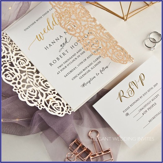 Gold Foil Laser Cut Wedding Invitations