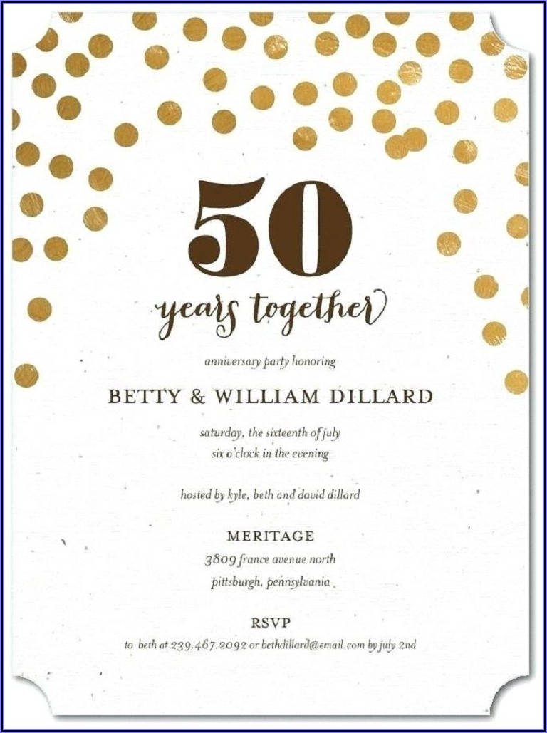 Golden 50th Wedding Anniversary Invitations Templates Free Download