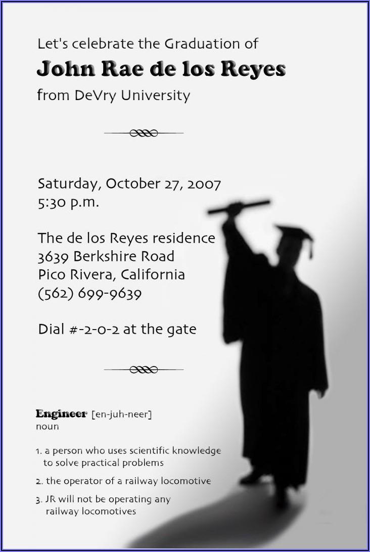 Graduation Invitation Wording Funny