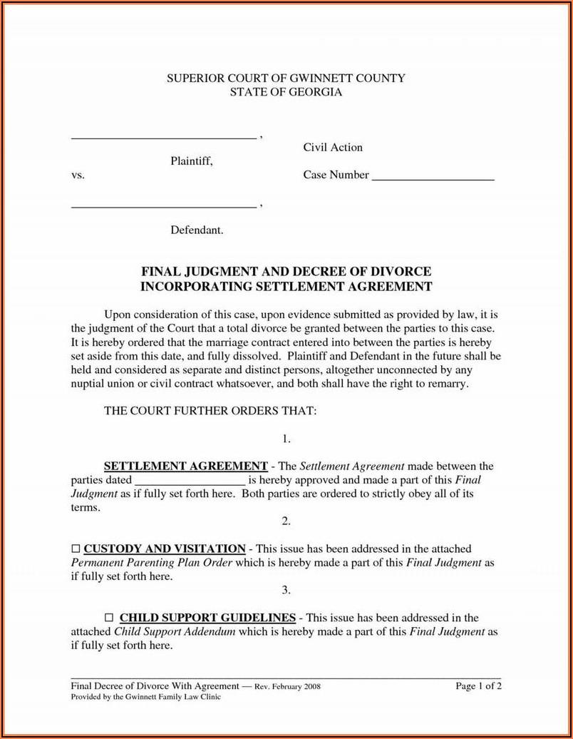 Gwinnett County Divorce Template