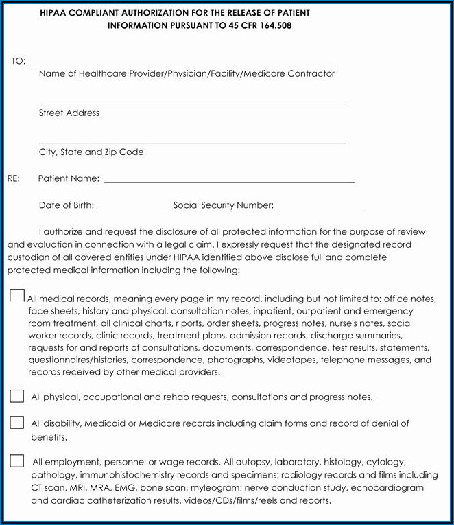 Hipaa Compliant Medical Release Form California