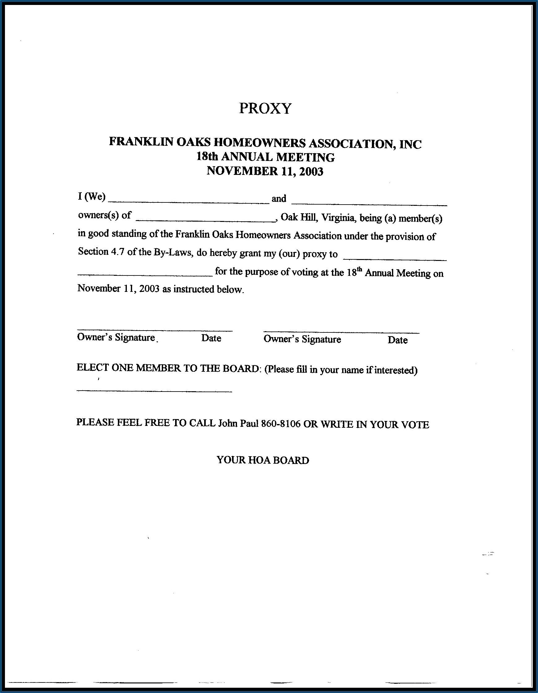 Hoa Proxy Form Florida