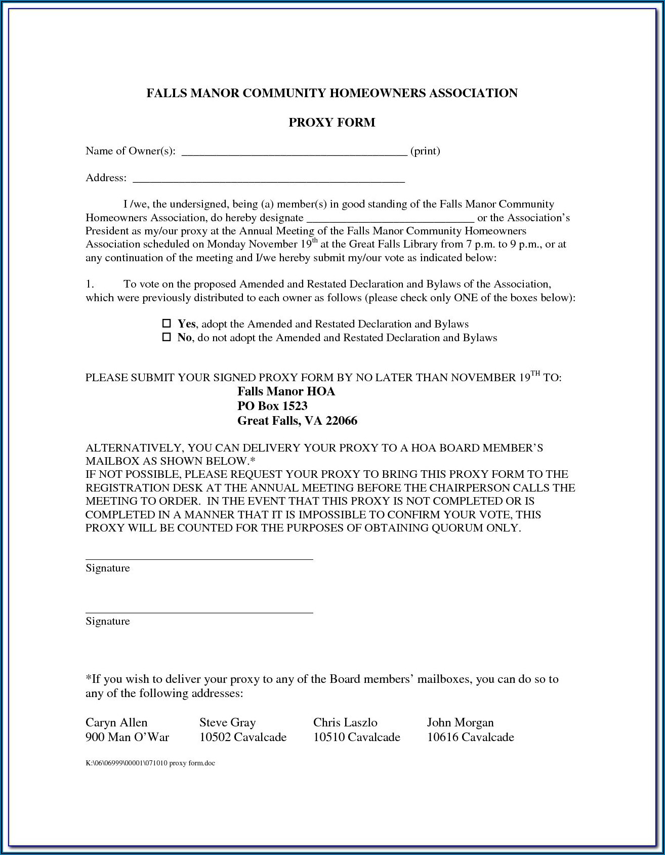 Hoa Proxy Form Georgia