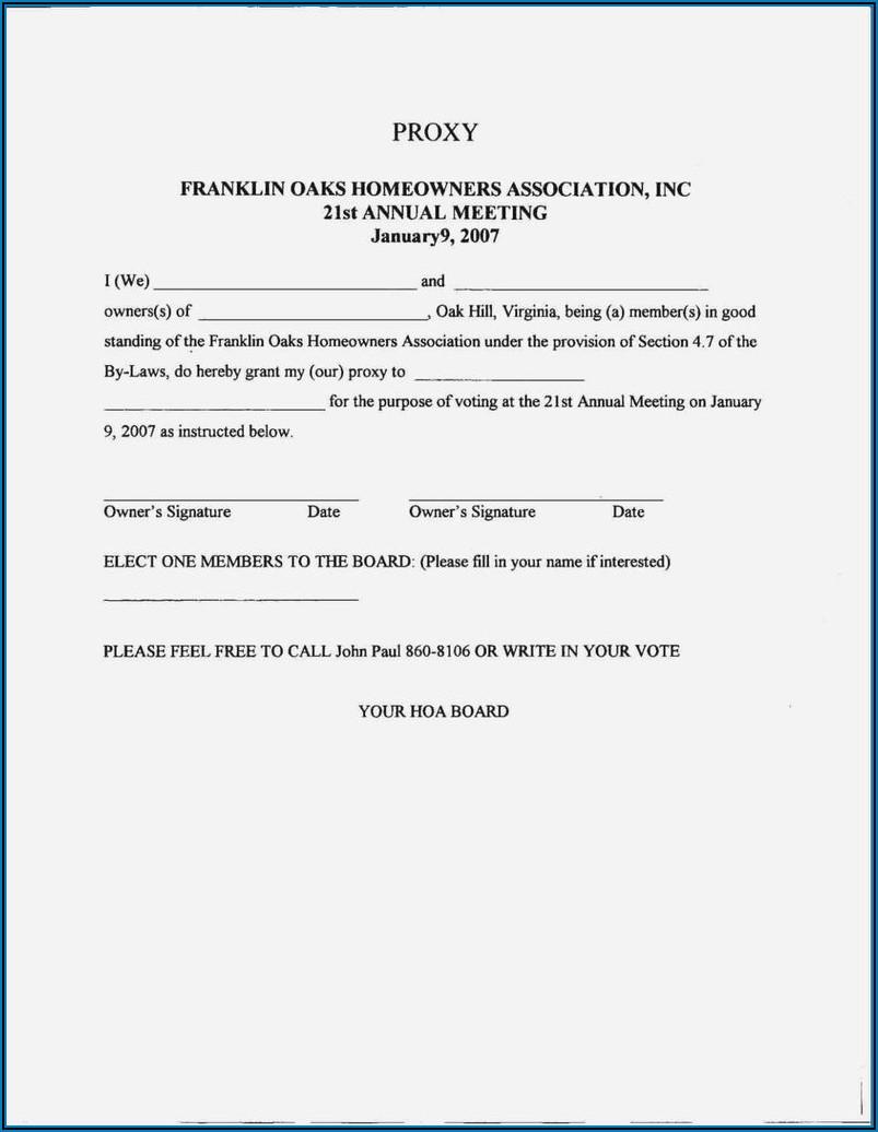 Hoa Proxy Form