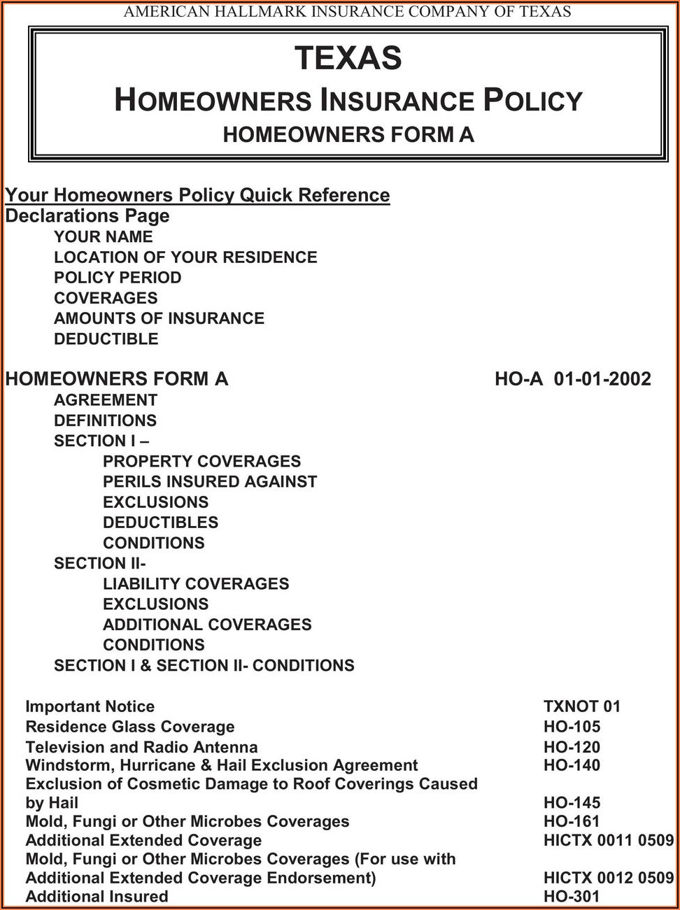 Homeowners Insurance Forms And Endorsements