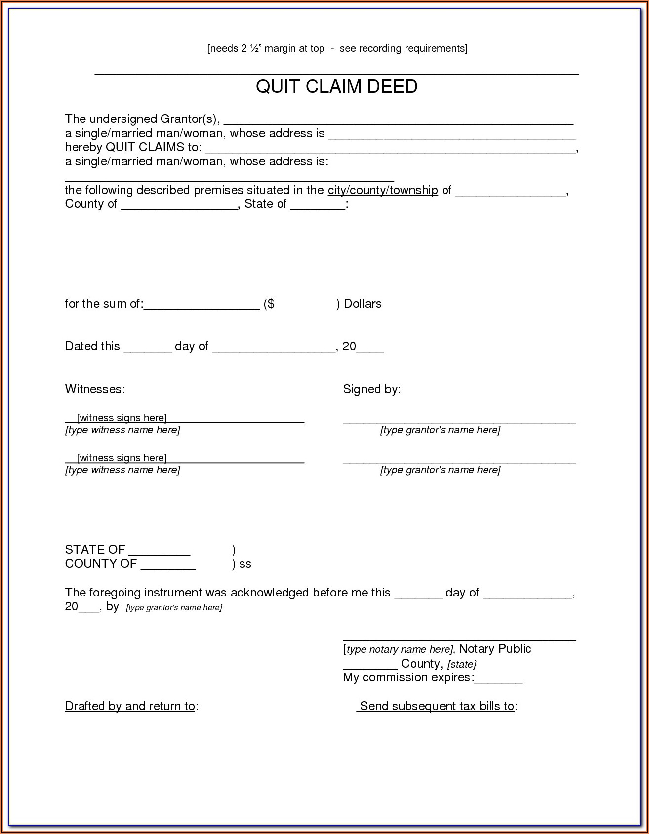 How Do I Fill Out A Quit Claim Deed Form