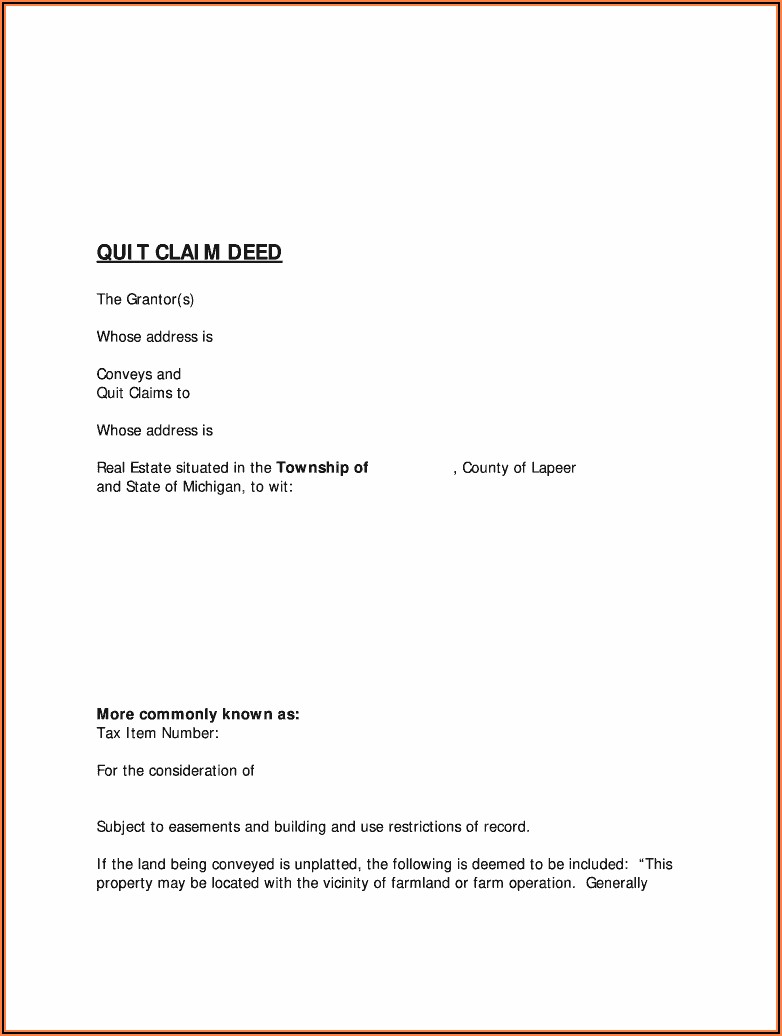 How To Fill Out A Quit Claim Deed Form In Michigan