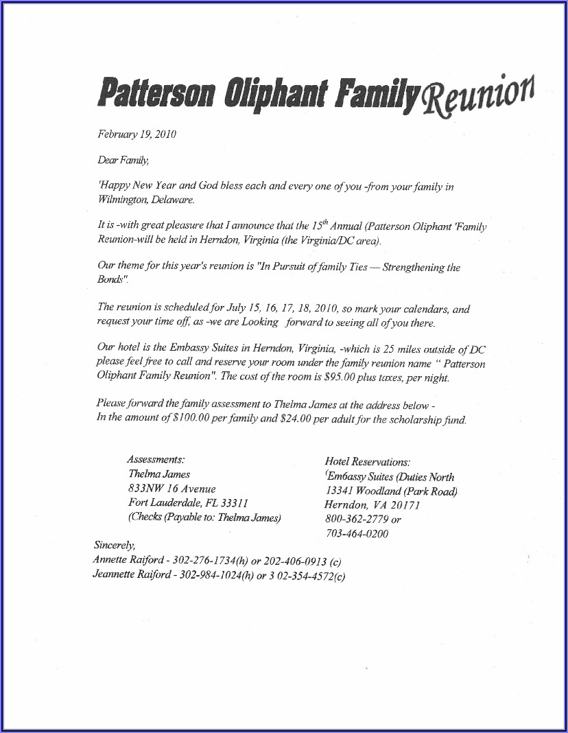 How To Write A Family Reunion Invitation Letter
