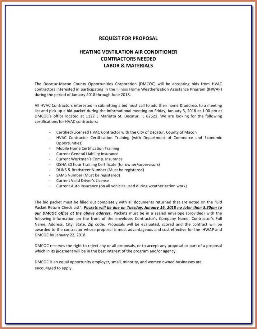 Hvac Proposal Forms