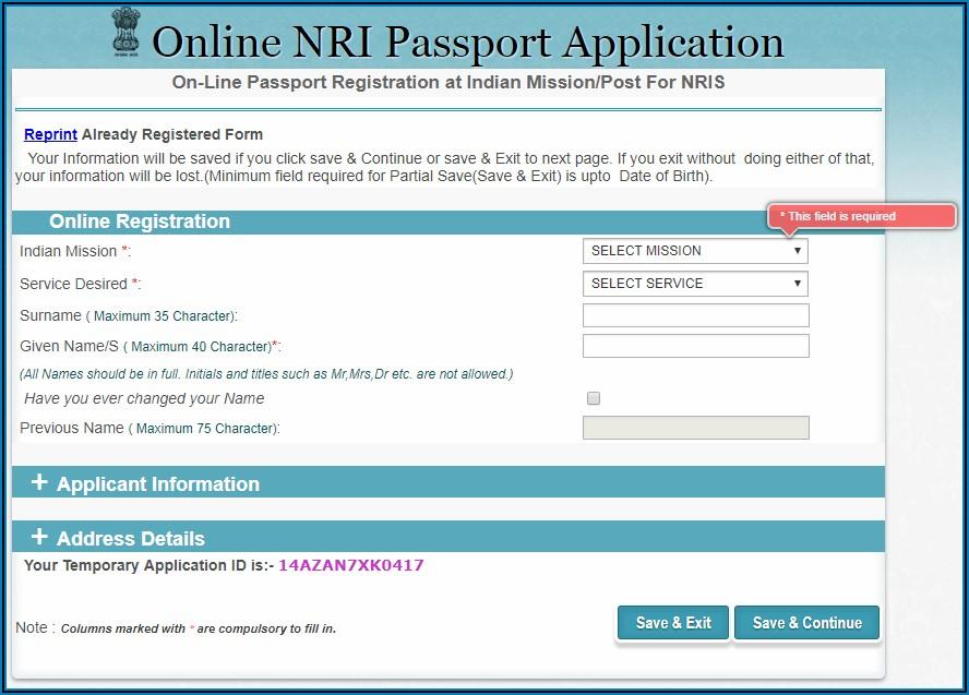 Indian Passport Renewal Form Dubai