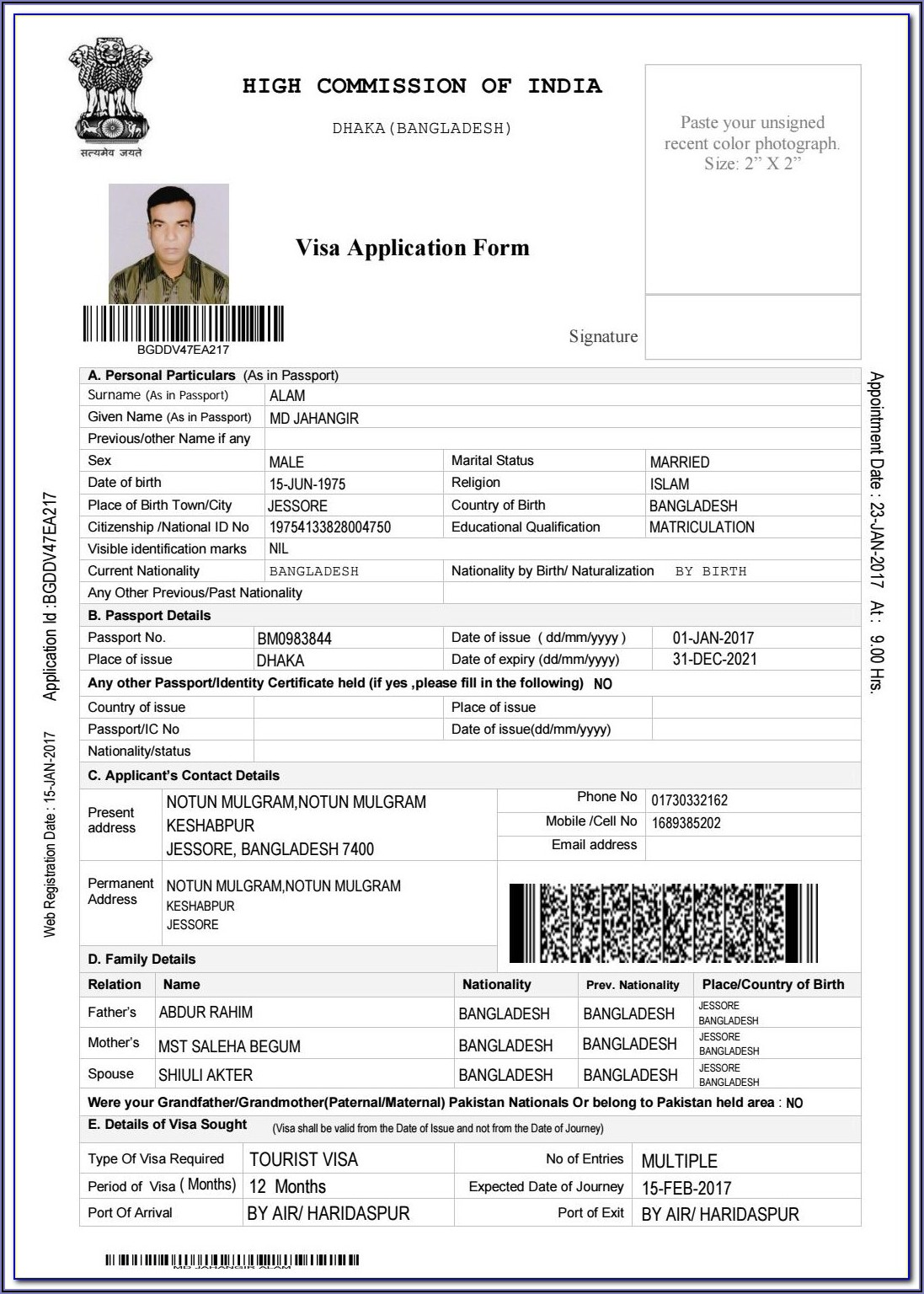 Indian Tourist Visa Form Pdf