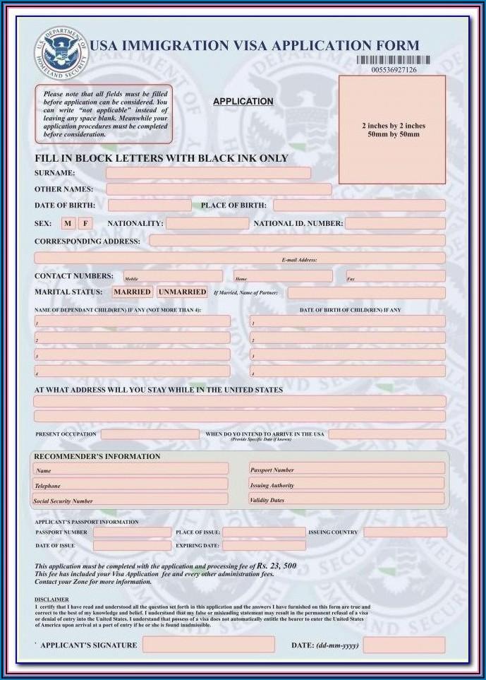 Indian Visa Application Form For Us Citizens Pdf